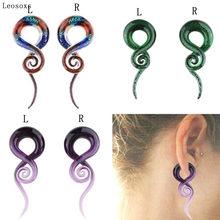 Leosoxs-pendientes de expansión para oreja de caracol, 2 piezas, 5-25mm, cristal a prueba de explosiones, joyería hermosa para Piercing