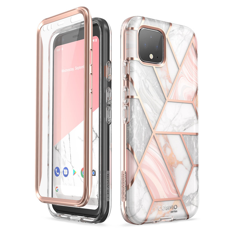 For Google Pixel 4 XL Case 6.3 Inch (2019) Cosmo Full-Body Glitter Marble Bumper Case With Built-In Screen Protector