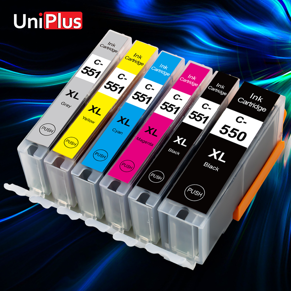 UniPlus PGI550 CLI551 новый полный картридж для принтера Canon 550xl 551xl для принтера PIXMA MG5450 MG5550 MG5650 MG6350