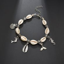 Hello Miss New fashion anklet creative retro dolphin fishtail shell pendant womens ankle jewelry