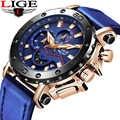 2019 LIGE męskie zegarki Top marka luksusowe wojskowy zegarek sportowy mężczyzn czarny skórzany zegarek kwarcowy analogowy zegarek wodoodporny Relogio masculino