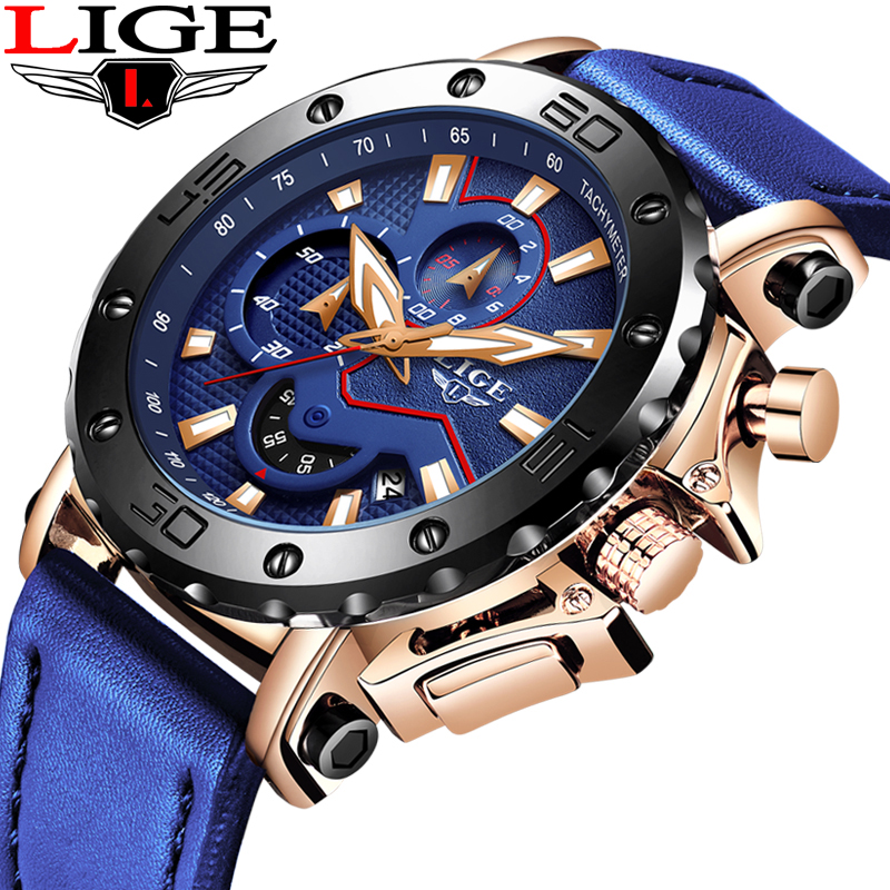 LIGE New Mens Watches Top Brand Luxury Big Dial Chronograph Sports Watch Men Waterproof Leather Quartz Watch Relogio masculino|Quartz Watches| |  - title=