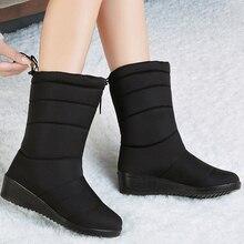 Damskie buty zimowe do połowy łydki wodoodporne buty śnieżne futrzane kliny buty damskie ciepłe buty puchowe platforma Botas Mujer Invierno 2020