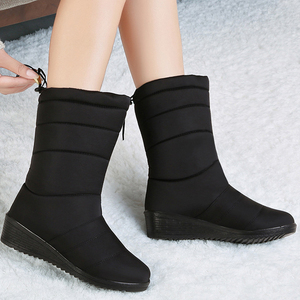 Image 1 - Women Winter Boots Mid Calf Waterproof Snow Boots Fur Wedges Shoes Ladies Warm Down Boots  Platform Botas Mujer Invierno 2020