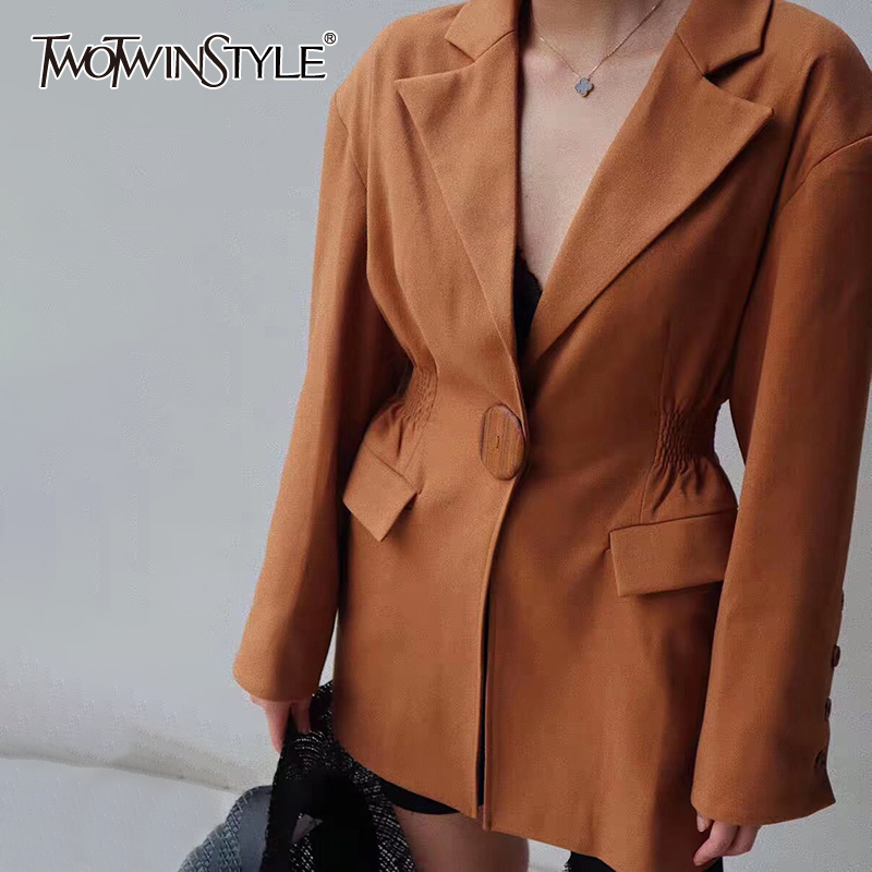 TWOTWINSTYLE Solid Summer Women's Blazer Notched Collar Long Sleeve Slim Tunic Elegant Coats Female 2020 Fashion Clothing New