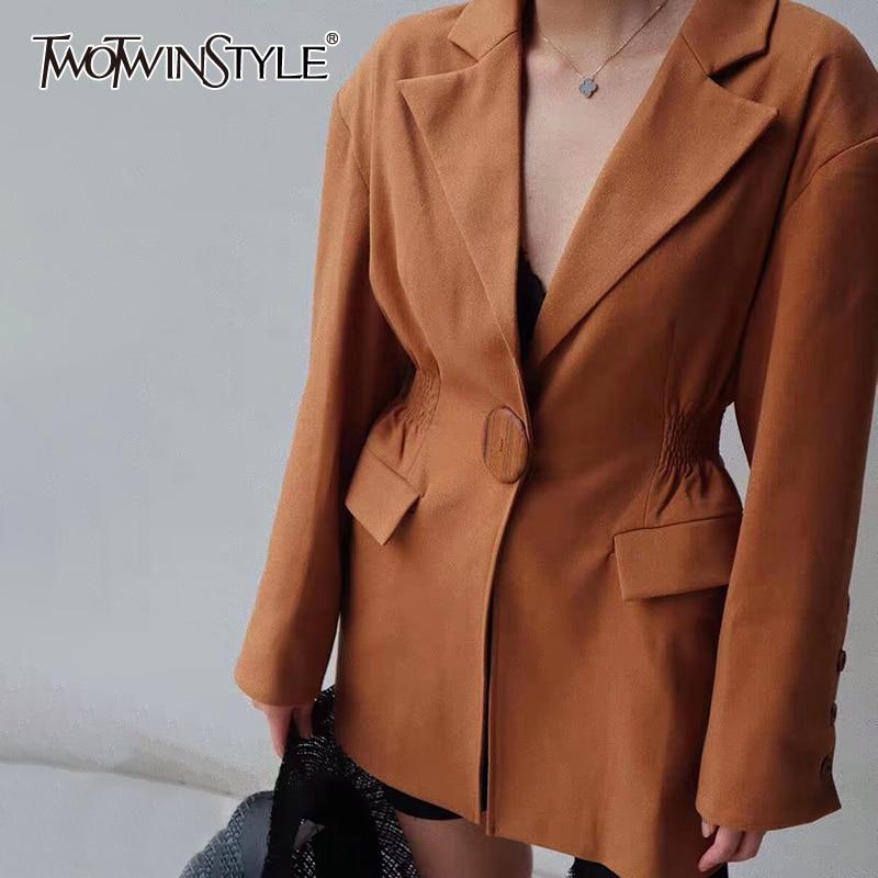 TWOTWINSTYLE Solid Summer Women's Blazer Notched Collar Long Sleeve Slim Tunic Elegant Coats Female 2020 Fashion Clothing New