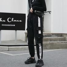 Women Fashion Loose Cargo Pants Female Casual Big Pocket Streetwear Trousers Ladies Elastic Waist Ankle-length Jogger Pants