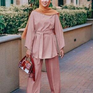 Image 2 - Plusขนาด2ชิ้นชุดผู้หญิงชุดFemme 2ชิ้นเสื้อผ้าชุดสีชมพู2ชิ้นชุดด้านบนและกางเกงRoupa femininasเสื้อผ้าชุด