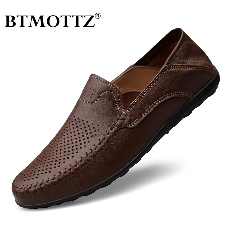 Genuine Leather Men Casual Shoes Luxury Brand 2020 Summer Men Loafers Moccasins Breathable Slip On Driving Shoes Plus Size 37-47