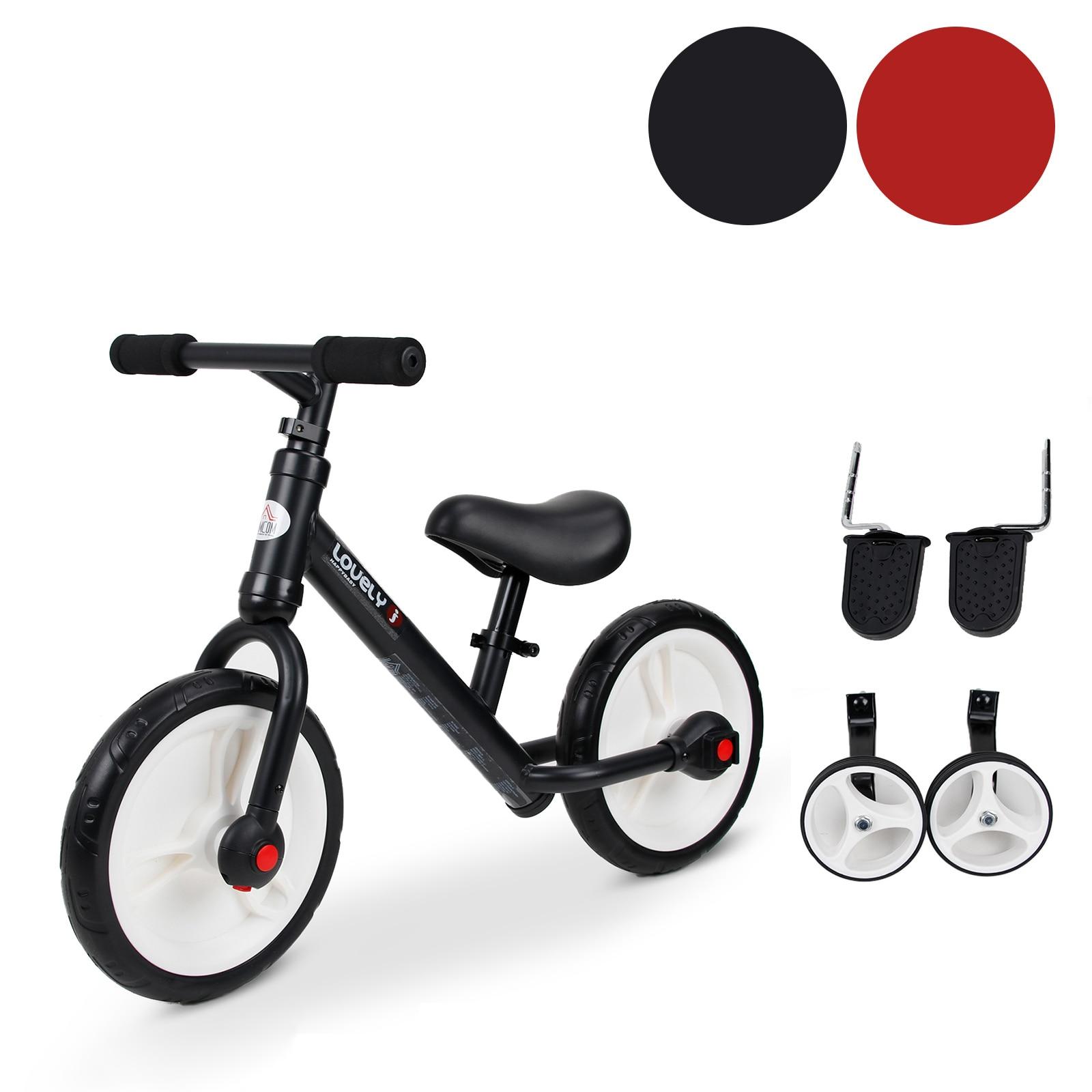 HOMCOM Bicicleta de Equilibrio con Pedales y Ruedas Entrenamiento Extraíbles Altura Regulable 33 38cm Niños 2 5 Años|Coches para montarse| - AliExpress