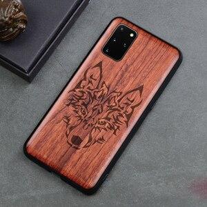 Image 1 - Prawdziwe drewniane etui do Samsung Galaxy Note 20 Ultra 10 Plus 5G S20 FE Ultra S10 okładka rzeźba tłoczone etui do Galaxy Note20 Funda