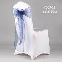 100pcs/Lot Wedding Chair Cover Satin Fabric Bow Tie Ribbon Party Home Wedding Holiday Gift Organza Ribbon Sheer Ribbon