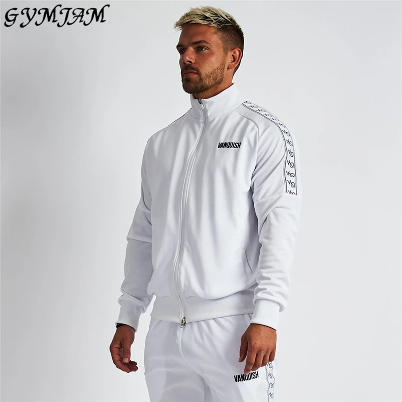 Brand Fashion Men's Jacket 2020 New Casual Zipper Shirt Gym Fitness Exercise Bodybuilding Cotton Top Men's White Coat