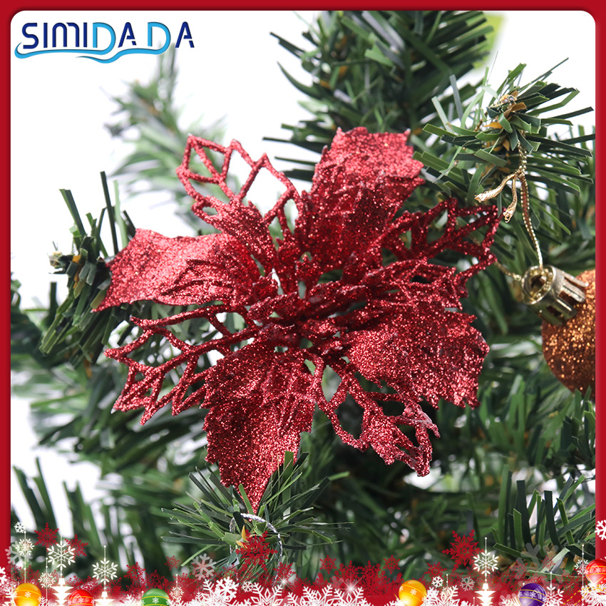 5PCS Hollow Simulation Christmas Flower Glitter Fake Flower Christmas Decorations For Home Gift Holiday Supplies