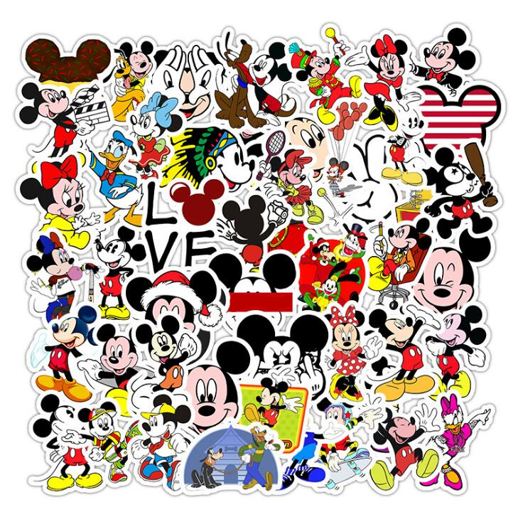 25/50pc Non-repeating Cartoon Animation Mickey Mouse Stickers Stickers Toy Luggage Guitar Personality Graffiti Stickers
