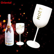 White Moet Plastic Glasses Celebration Party Drinkware Drink Wine Glass Cup Champagne Glass Electroplated Cups Cocktails Goblet