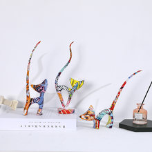 Adornos de resina de tres gatitos, artesanía creativa de Color europea y americana, regalos de animales para sala de estar y dormitorio