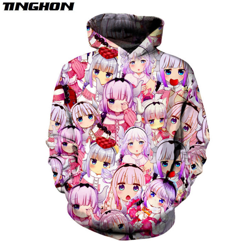 Naturally Cute Anime T-shirt New Fashion 3d Sweatshirt Women Men Pullovers Kawaii Kanna Kamui Pink Hoodies Plus Size 5XL 6XL 7XL