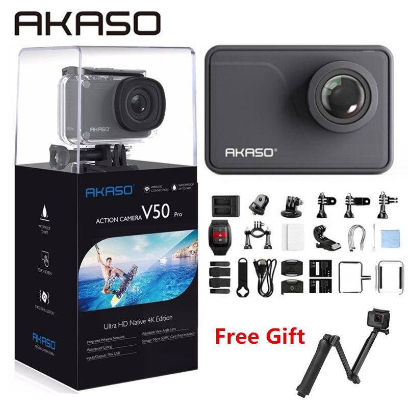 AKASO V50 PRO 4K Cam Extrems 30FPS Touch Screen WI-FI Ao Ar Livre Câmera de Ação Esporte Com Els Ultra HD À Prova D' Água DV Camcorder 20MP