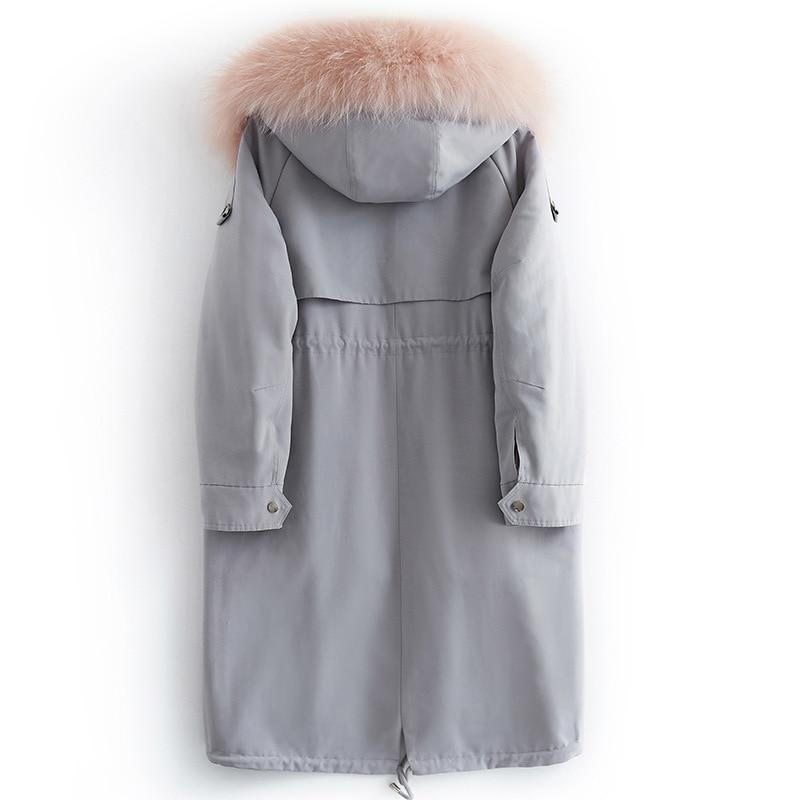 Rex Rabbit Raccoon Collar Winter Coat Real Fur Parka Women Clothes 2020 B19F21340 YY928