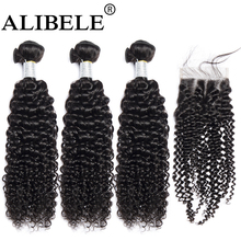 Alibele Kinky Curly Bundles Brazilian Hair Weave Bundles With Remy Hair Human Hair Bundles With 3 Bundles With Closure