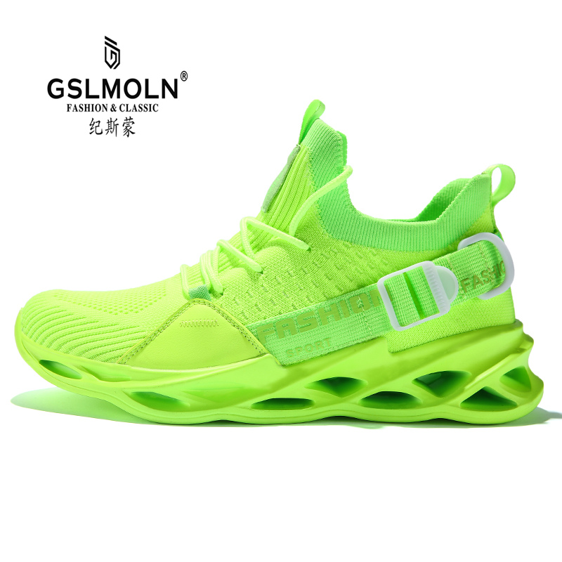 Men Casual <font><b>Shoes</b></font> Spring White Green Light <font><b>Shoes</b></font> Men Breathable Basket Walking Sneakers Zapatillas Hombre Tenis Masculino Adulto image