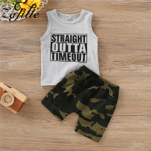 ZAFILLE 2020 New Summer 2pcs Letter Top+Camouflage Shorts Outfits Set Baby Boy Clothes Sleeveless Toddler kids Boys Suit