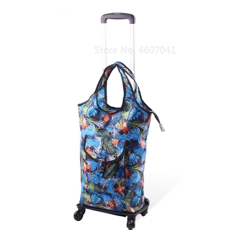 Съемная сумка-тележка для шоппинга, телескопическая складная корзина для покупок, сумка на колесиках из алюминиевого сплава, универсальная Тележка для покупок - Цвет: color4