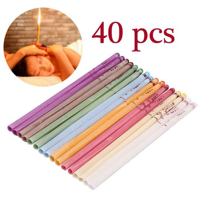 40 Pcs Coning Bijenwas Natuurlijke Oor Kaars Oorkaarsen Therapie Rechte Stijl Oor Care Thermo Auricular Therapie Face Lift tool