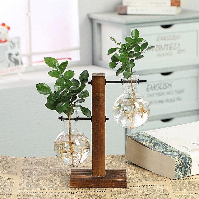 Terrarium Hydroponic Plant Vases Vintage Flower Pot Transparent Vase Wooden Frame Glass Tabletop Plants Home Bonsai Decor 1