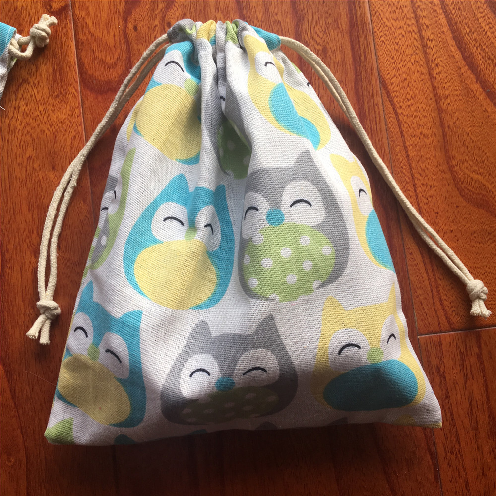 Cotton Linen Drawstring Eco Multi-purpose Bag Sorted Bag Party Gift Bag Colorful Owls YL24C