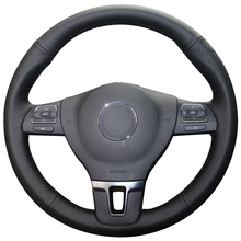 Siyah Doğal Deri Araba direksiyon kılıfı için Volkswagen VW Gol Tiguan Passat B7 Passat CC Touran Jetta Mk6