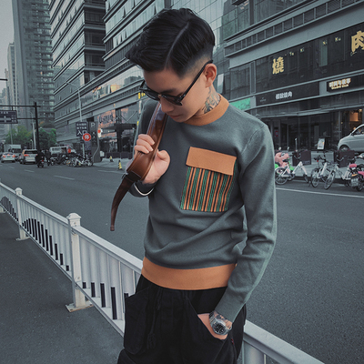 2019 Winter New Men's Round Neck Sweater Japanese Casual Hit Color Bottoming Sweater Youth Slim Pullover Sweater Men