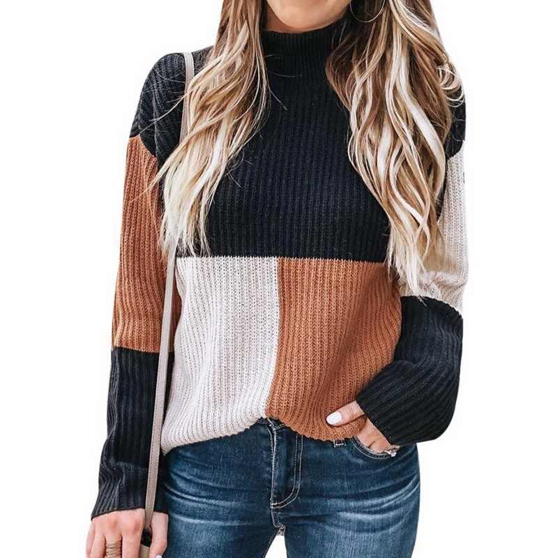 Laamei חדש סתיו חורף אופנה נשים סרוג משובץ טלאי סוודר גולף ארוך שרוול סוודר נשי מזדמן Streetwear