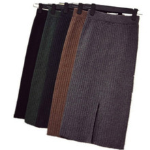 Skirt Black Knitted Winter Straight 70cm Elastic-Band Mid-Long Ribbed Warm Autumn
