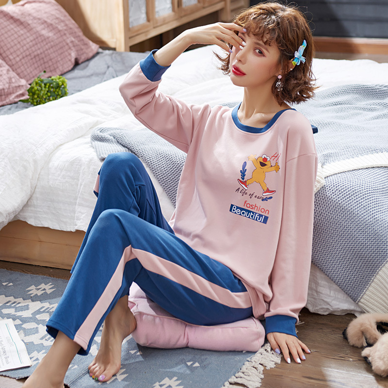 Korean-style Ladies Home Leisure Suit 2020 Spring New Products Casual Comfortable Cartoon Mixed Colors Crew Neck Long Sleeve Paj