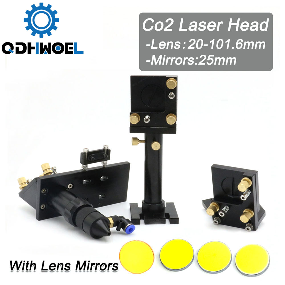 Whole Set Co2 Laser Cutter Head For Co2 Laser Machine With Laser Focus Lens And Reflect Laser Mirrors
