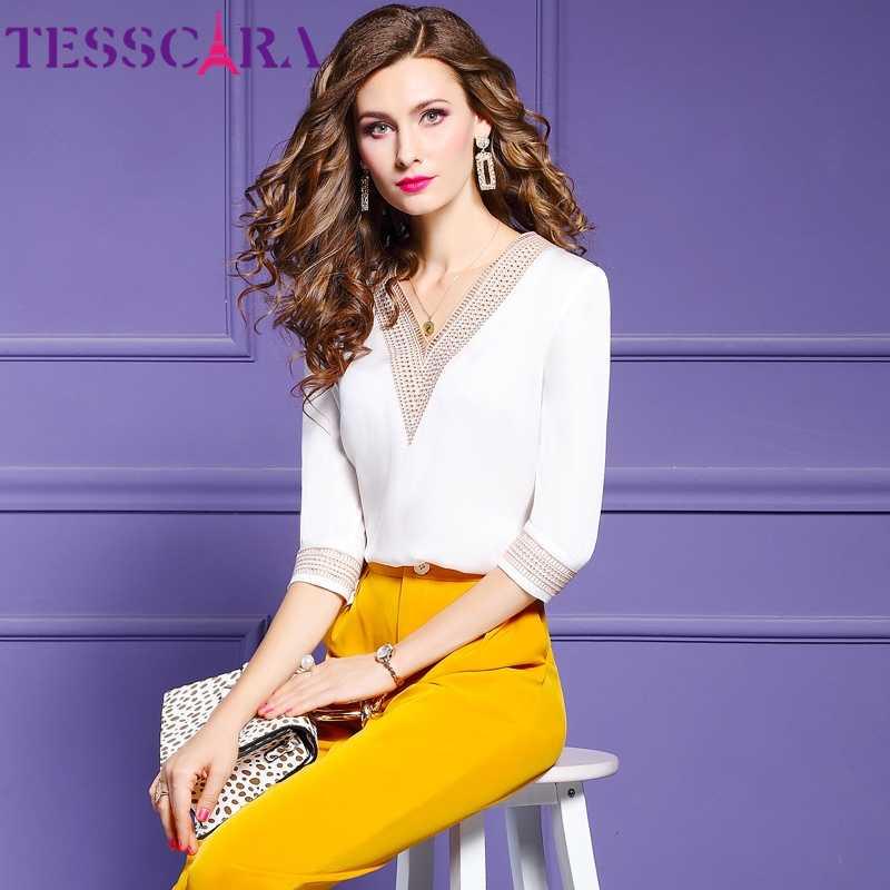 Tesscara Vrouwen Zomer Elegante Borduurwerk Blouse Shirt Vrouwelijke Designer Satin Top Office Party Chemise Womens Casual Tops Blouses