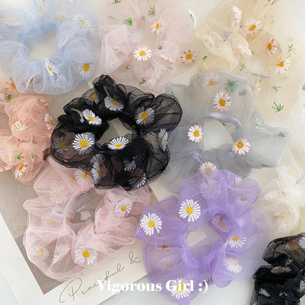 1PCS Scrunchies Hair Ring Daisy Floral Hair Ties Rope Autumn Winter Women Ponytail Hair Accessories Girls Hairbands Gifts