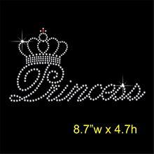 2pc/lot Princess crown transfers design iron on transfer patches hot fix rhinestone motifs fixing rhinestones