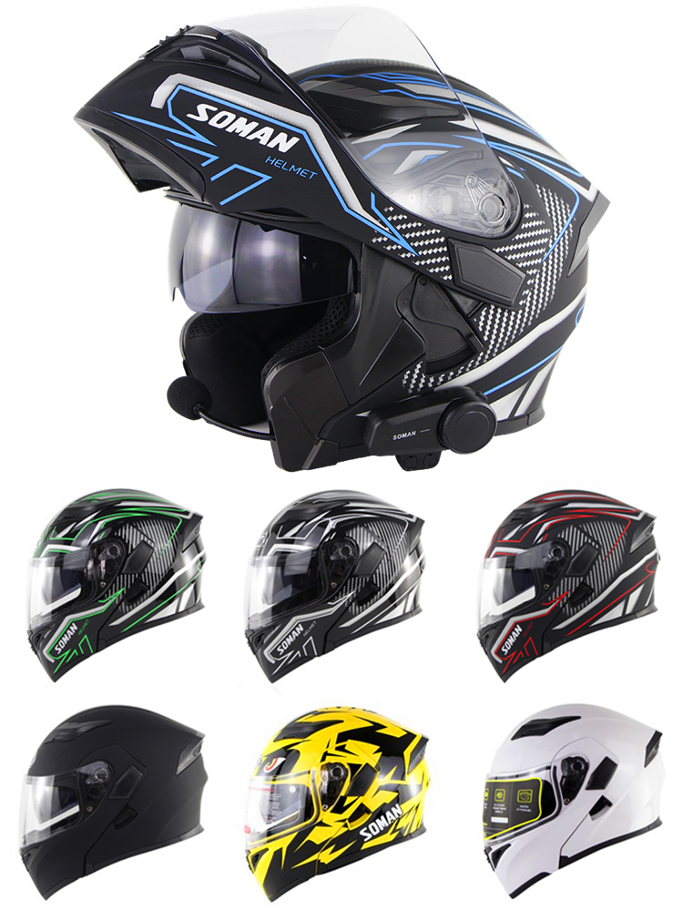 SOMAN Motorbike Helmets Visor Casco Modular Flip-Up Full-Face Cool Black Dual-Lens