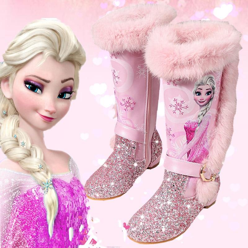 Детская обувь принцессы; Детские Мультяшные сапоги; зимние сапоги из искусственной кожи с блестками; Новые Теплые Сапоги выше колена из натуральной шерсти для девочек