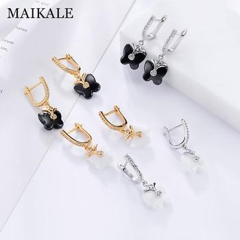 MAIKALE Cute Butterfly Shape Ceramic Earrings Cubic Zirconia Golden/Silver Dangle Drop Earrings for Women Fashion Jewelry Gifts 1