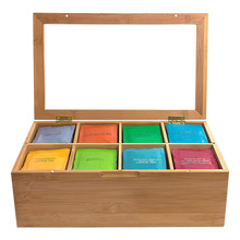12 Inch Wooden Tea Box 8 Compartments Storage Container Wooden Handmade Bamboo Natural Storage Box