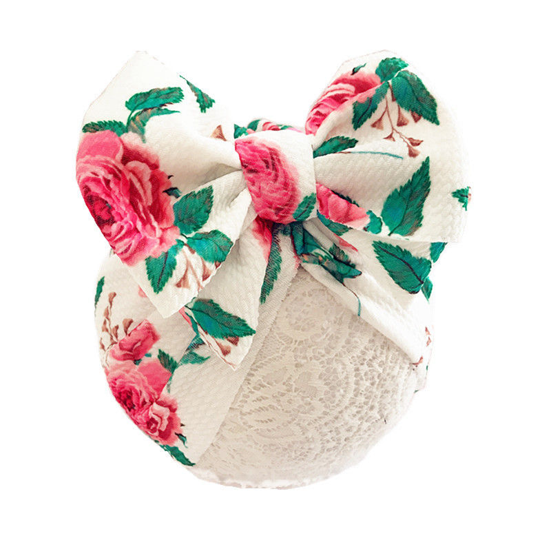 Fashion Baby Turban hat with bow Print fabric Toddler Beanie Hat Big Hats girls Soft Caps Newborn Gifts H263D