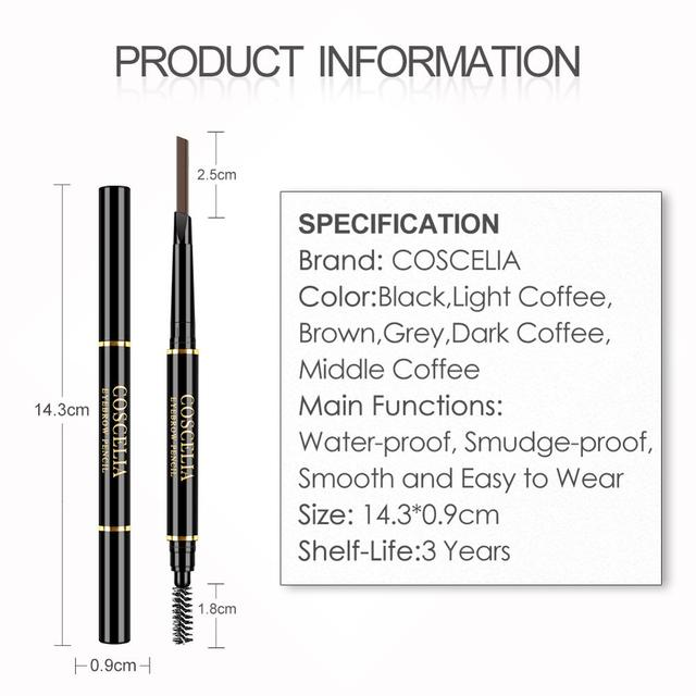 Eyebrow Pencil With Brush Double Ended Eyebrow Pen Waterproof Lasting Brow Tattoo Pen Eye Makeup Pencil Eyebrow Enhancer Pen 5