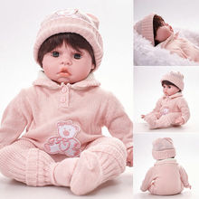 Xmas 20'' Reborn Silicone Girl Baby Lifelike Doll Realistic Full Vinyl Body Gift Reborn Baby Doll ocday reborn baby boy doll 56cm full body soft silicone vinyl handmade lifelike toys doll for kids playmate gift toy cute reborn
