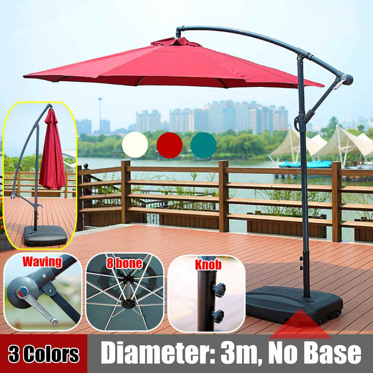 300CM Gazebo Tent With Iron Frame Adjustable Sunshade Outdoor Patio Garden 8-bone Umbrella Tent Canopy Waterproof Anti-UV Cover
