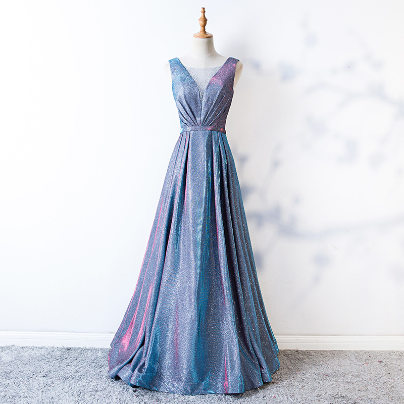 2019 New Style V-neck Long Slimming Birthday Party Dress Banquet Evening Dress Host Women's Xian Qi Dreamy