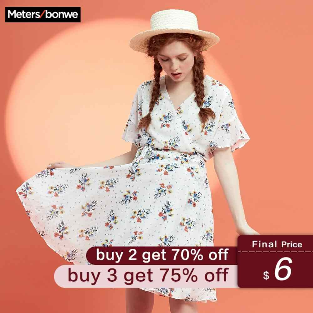 Metersbonwe Brand 2019 Beach Dress Women's Chiffon Dress Sweet Floral Beach Holiday Dress Halter Strapless Bohemian Sundress